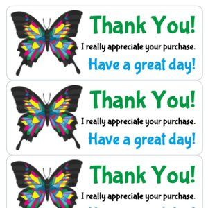 Other - Thank You Stickers 90 XL Labels Card Tag Rate Me